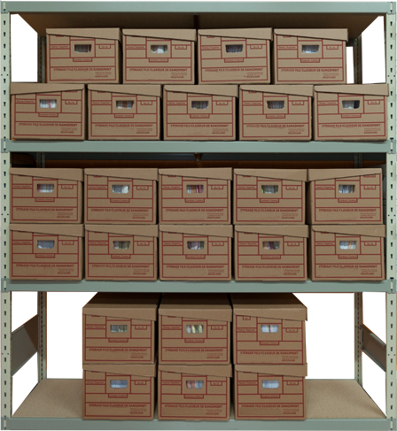Archive file box shelving metal shelves | Archival storage