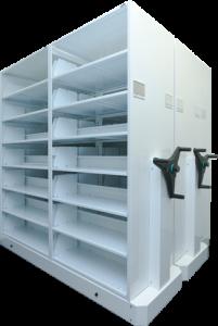 Systeme de rangement_etagere mobile Deplacement mecanique
