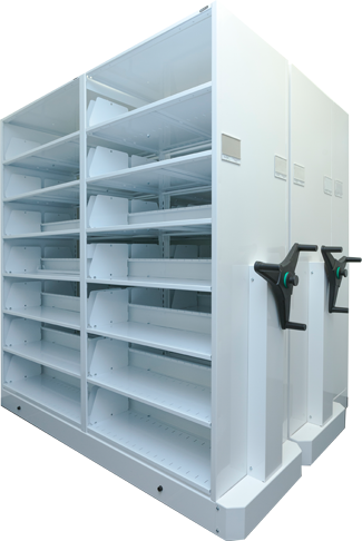 Mechanical assist mobile shelving with rotating handle